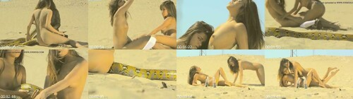 0086 FUN Hot Girls In Sand With A Snake m - Hot Girls In Sand With A Snake