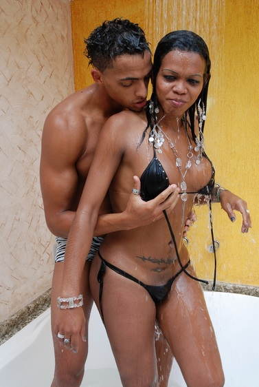 Hot Black Shemale Shower Sex