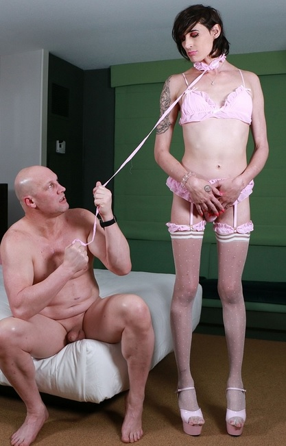 Trans pet adores her dominant daddy