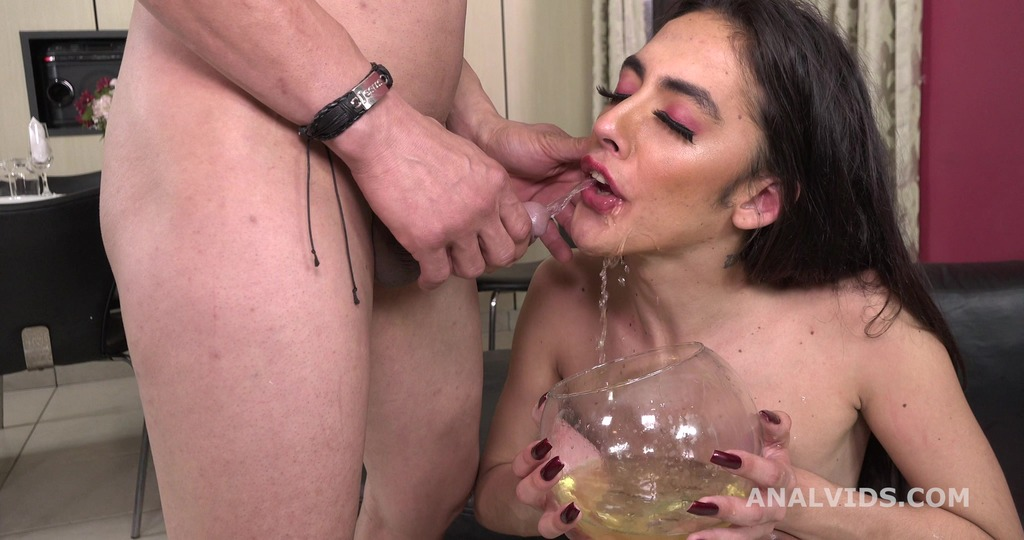 LegalPorno - Busted T-Girls - Brazilian T-Girl goes wet, Mariana Lins 4on1 Balls Deep Anal, DAP, Gapes, Pee and Cum in Mouth BTG043