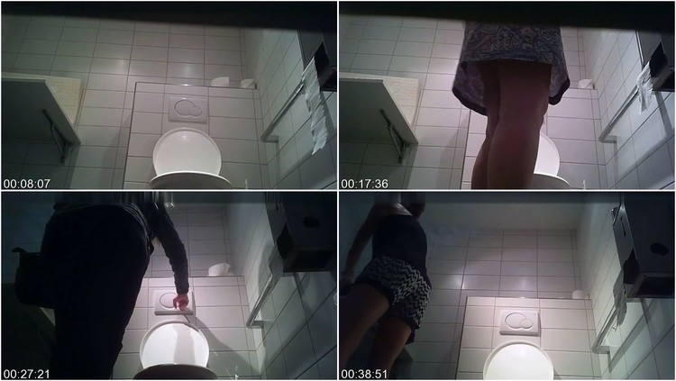 Hidden camera caught guys unpacking their loads and pissing in a public toilet